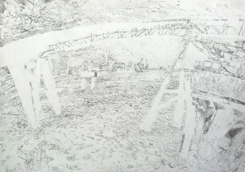Conveyor, graphite on paper, 42 x 59, 2019