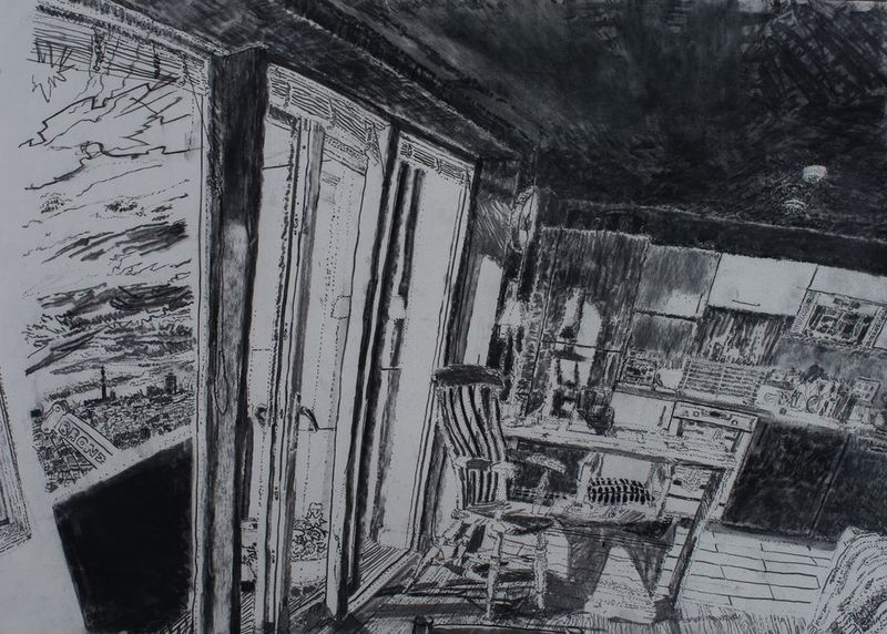 15.4.11 – 17th floor, The Collins' flat, charcoal on paper, 59 x 84cm