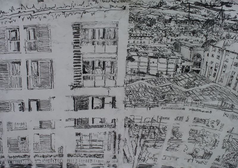 18.3.10 - from the roof garden, 9th floor, B Block, charcoal on paper, 59 x 84cm