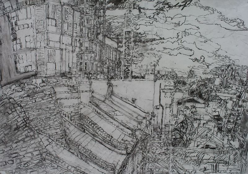 7.10.09, from the Print House roof, Ashwin Street, charcoal on paper, 59 x 84cm