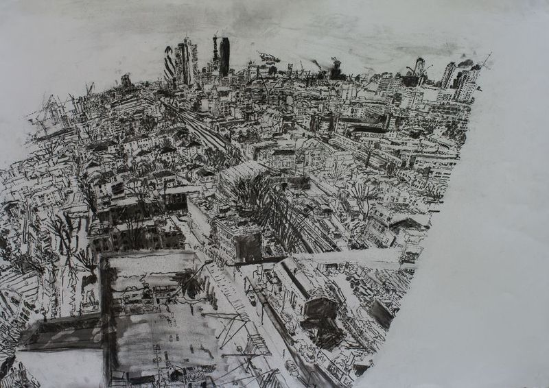 27.1.11- 18th floor, the Collins' flat, charcoal on paper, 59 x 84cm